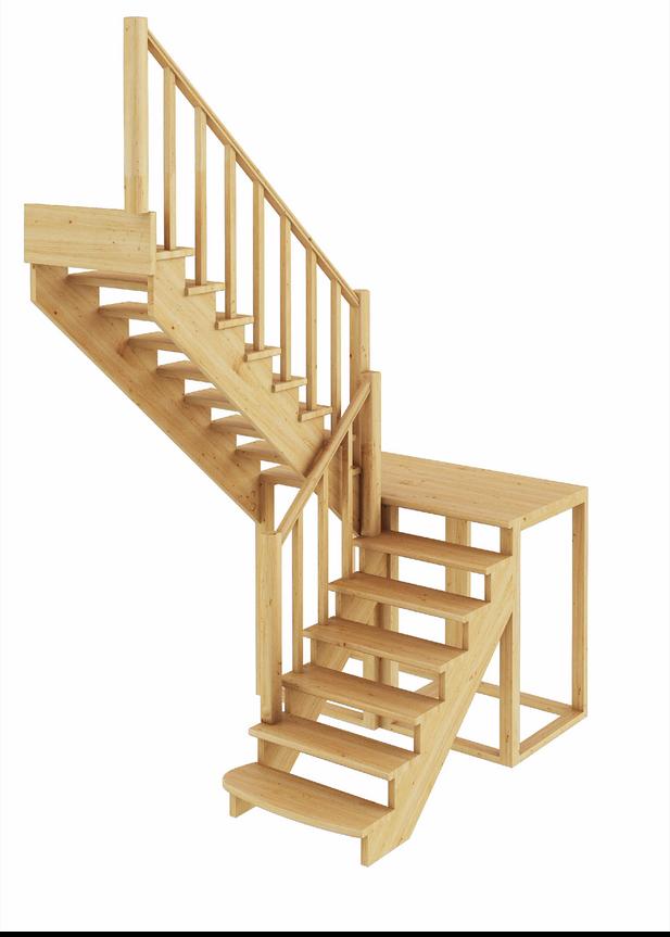 Лестница из сосны К-004м (вариант №3) Левая