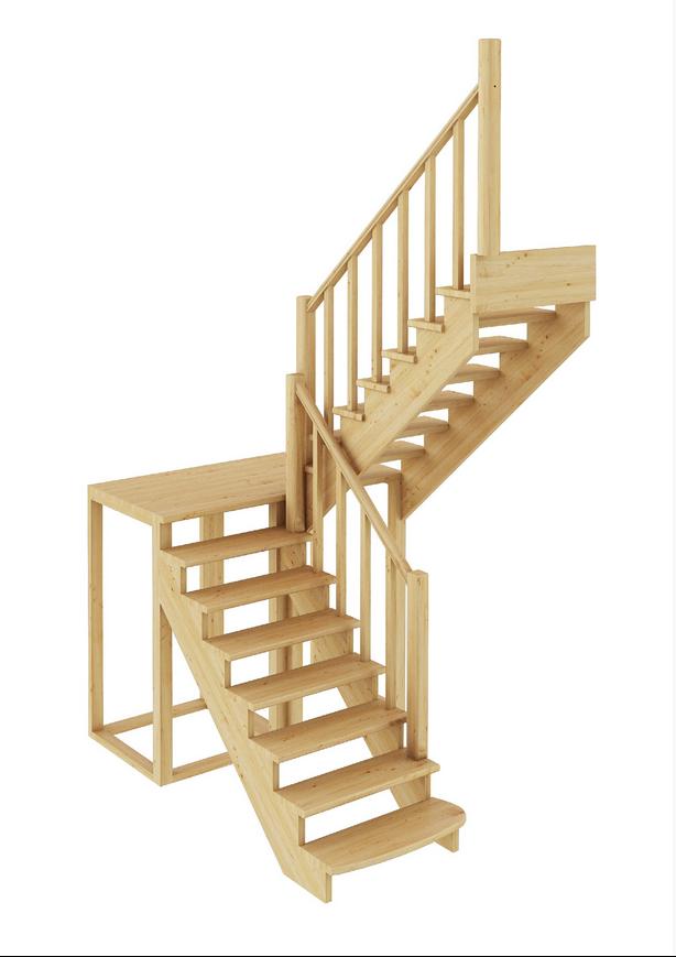 Лестница из сосны К-004м (вариант №1) Правая