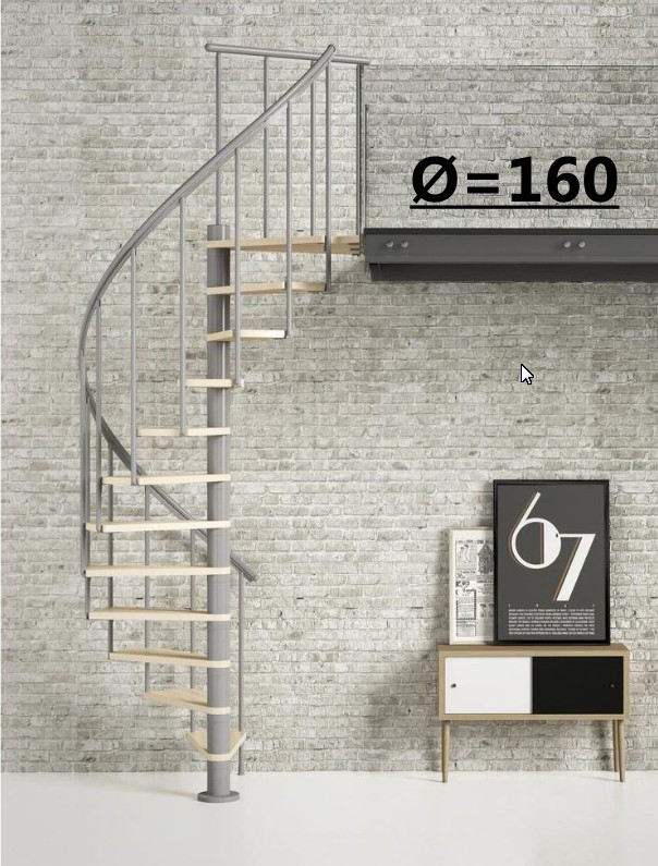 Винтовая лестница Montreal Classic, диаметр 160 см, серый