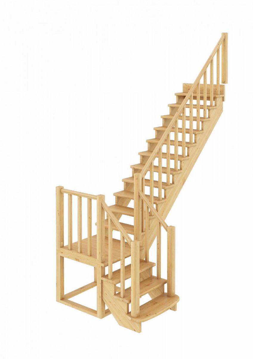 Лестница из сосны К-022м Правая