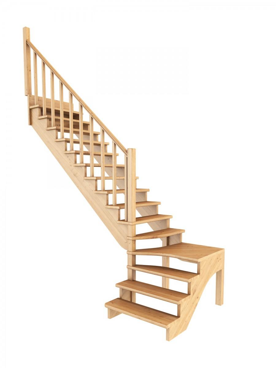 Лестница из сосны К-031м (вариант №3) Левая
