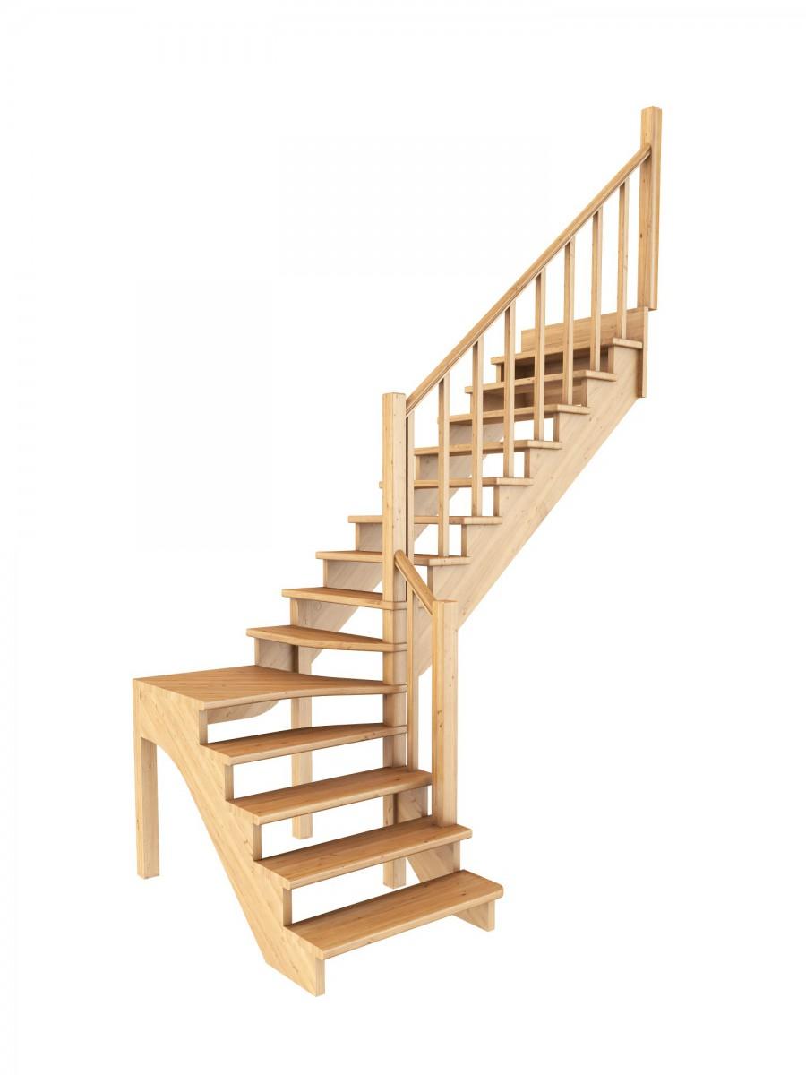 Лестница из сосны К-031м (вариант №2) Правая