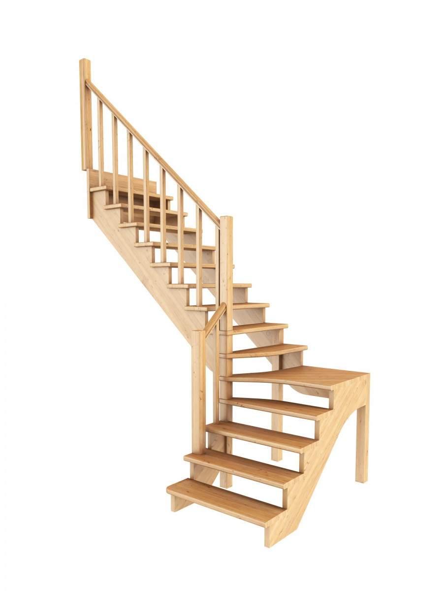 Лестница из сосны К-031м (вариант №2) Левая