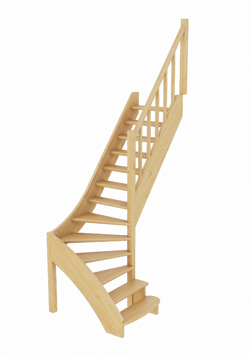 Лестница из сосны ЛС-07м (вариант №4) Правая
