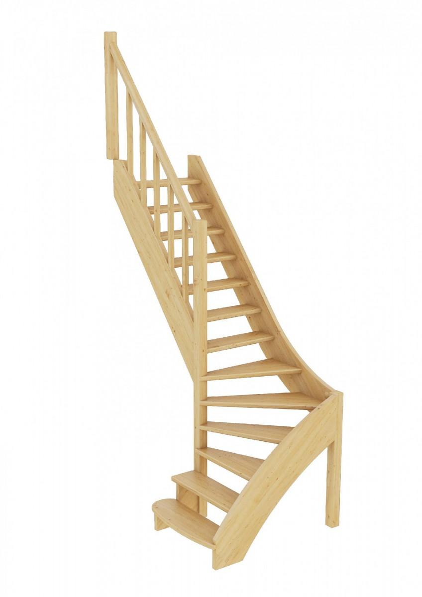 Лестница из сосны ЛС-07м (вариант №4) Левая