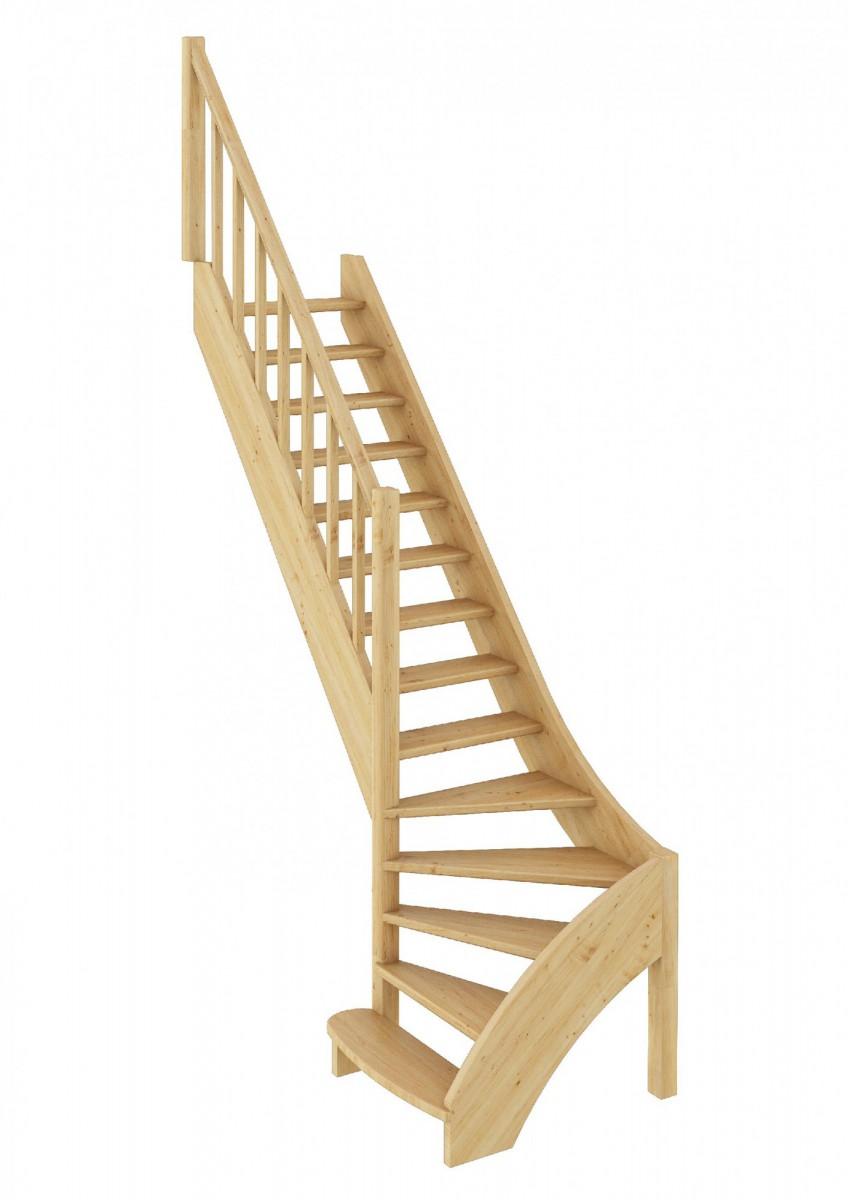 Лестница из сосны ЛС-07м (вариант №2) Левая