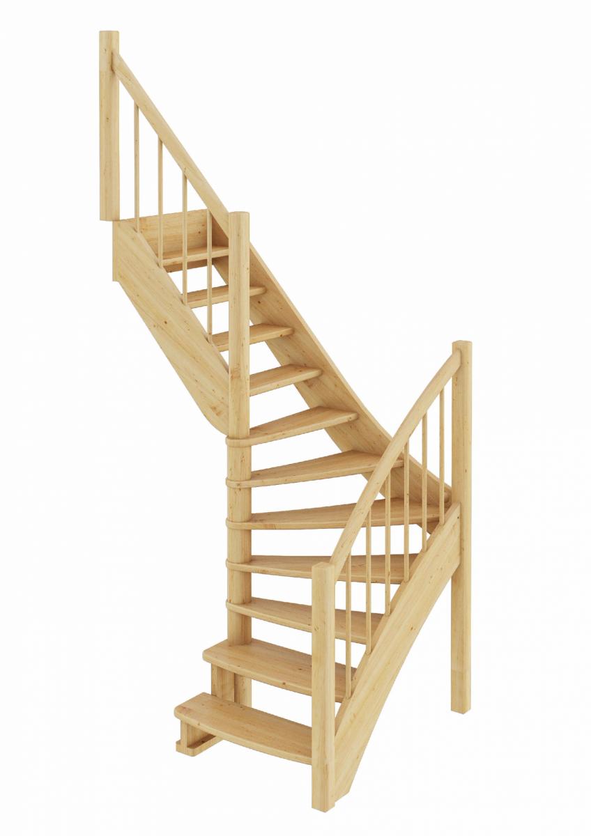 Лестница из сосны ЛС-09м (вариант №1) Левая