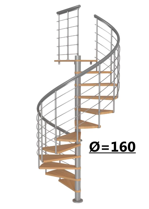 Винтовая лестница Montreal Style, диаметр 160 см, серый