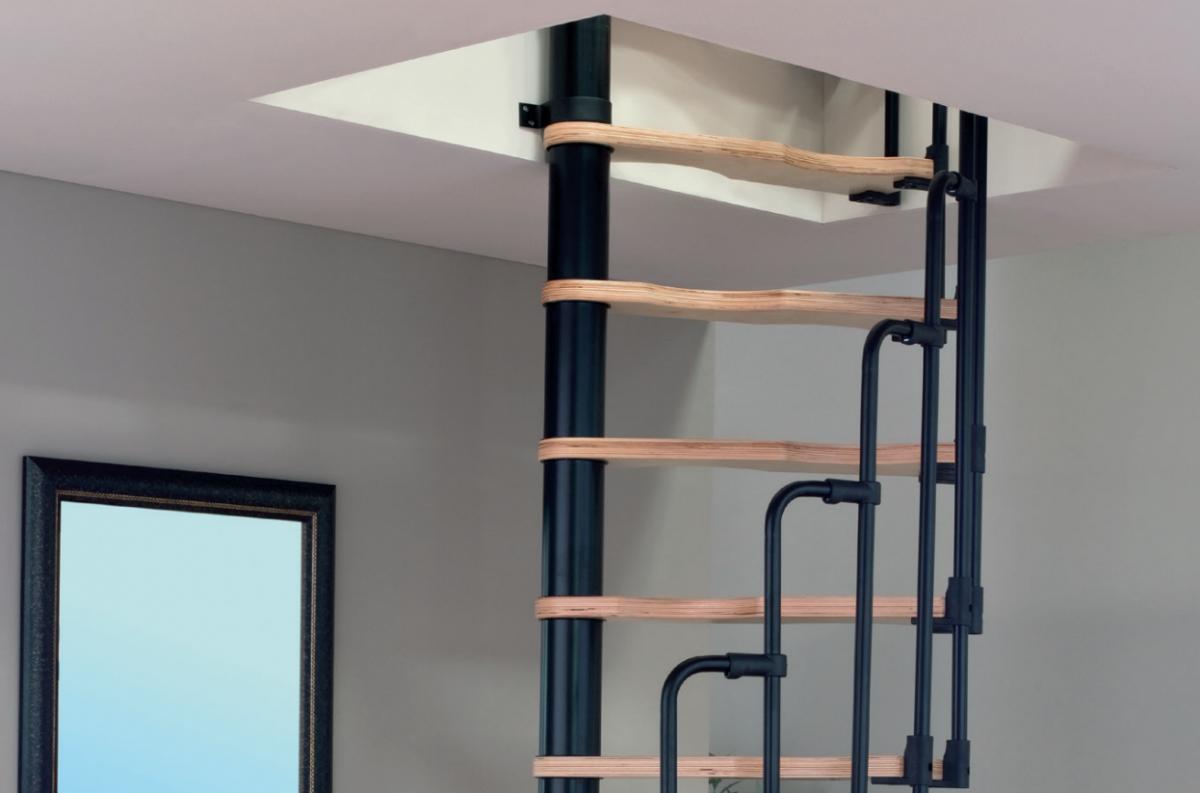 Малогабаритная винтовая лестница Suono, диаметр 120/60 см, черный, ступени без покрытия