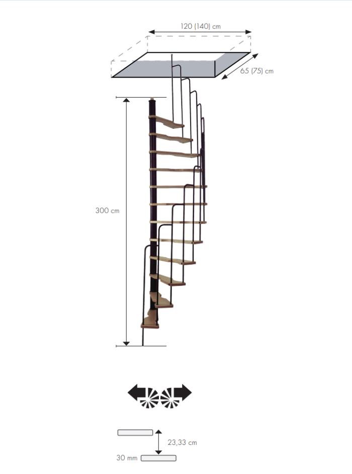 Малогабаритная винтовая лестница Suono, диаметр 140/70 см, черный, ступени лакированные
