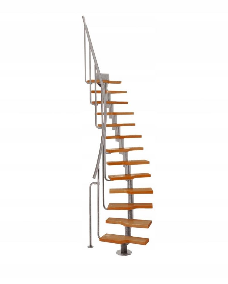 Модульная лестница MINI, 222-3000 мм , 11 ступеней-ольха, серый