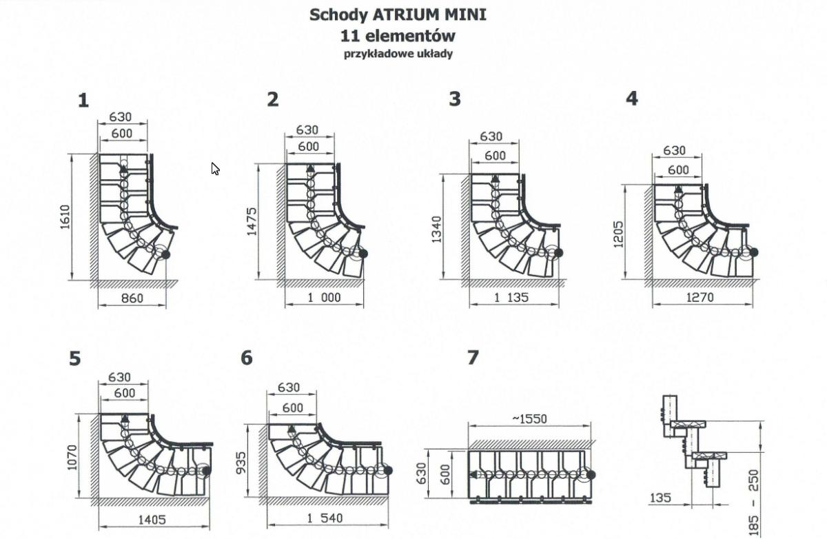 Модульная лестница MINI, 2220-3000 мм, 11 ступеней - ольха, серый