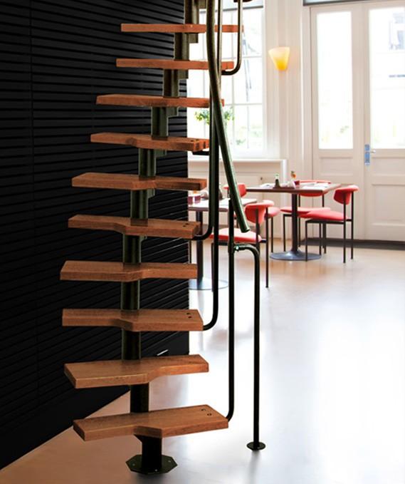 Модульная лестница MINI, 2220-3000 мм , 11 ступеней - ольха, черный