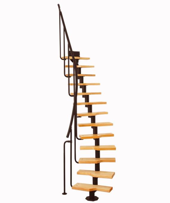 Модульная лестница MINI, 222-3000 мм , 11 ступеней - ольха, черный