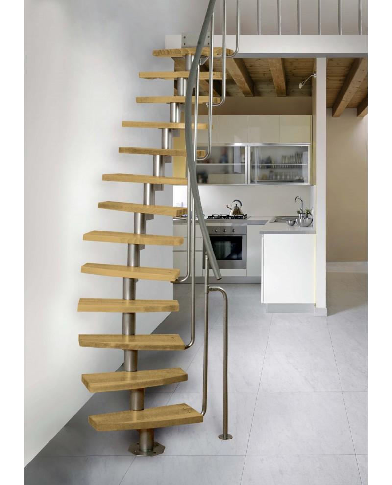 Модульная лестница MINI PLUS, 2220-3000 мм, 11 ступеней - ольха, серый